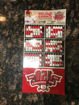 2019 Cincinnati Reds Car Magnetic Schedule 150th Year Of Pro