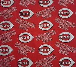 "28"" Cincinnati Reds Baseball Fabric Traditions 58"" Wide on R"