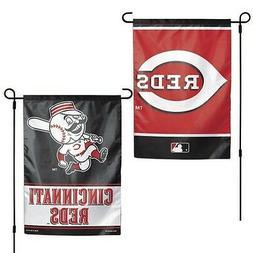 "CINCINNATI REDS 2 SIDED GARDEN FLAG 12""X18"" YARD BANNER OUTD"