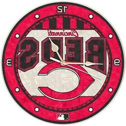 Cincinnati Reds Art-Glass Wall Clock