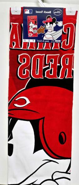 CINCINNATI REDS BEACH TOWEL DISNEY MICKEY MOUSE COTTON POOL