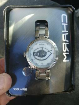 Cincinnati Reds Charm Watch with Stainless Steel Band.by spa
