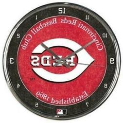 Cincinnati Reds Chrome Round Wall Clock  MLB Sign Banner Off