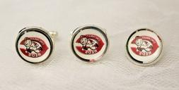 Cincinnati Reds Cufflinks and Tie Tack Set Upcycled from MLB