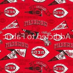 Cincinnati Reds Fabric by the Yard, Half Yard, MLB Cotton Fa