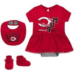 Cincinnati Reds Girls Newborn & Infant Diamond Bodysuit, Bib