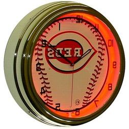 "Cincinnati Reds MLB 16"" Red Neon Lighted Wall Clock Chrome G"