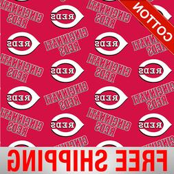 "Cincinnati Reds MLB Cotton Fabric - 58"" Wide - Style# 6637 -"