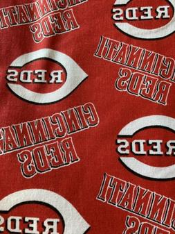 "Cincinnati Reds MLB Cotton Fabric Remnant 14""x 9"""