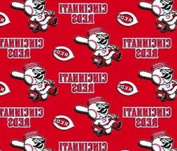 "Cincinnati Reds MLB Fleece Fabric - 60"" Wide - Style# 6546"