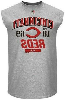 Cincinnati Reds MLB Mens Majestic Flawless Muscle Shirt Gray