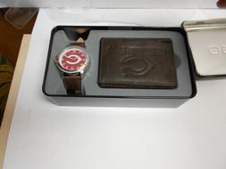 Cincinnati Reds Watch and Brown Trifold Wallet Set.  Very ni