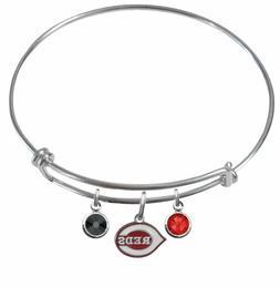 Cincinnati Reds Wire Bangle Charm Bracelet Crystal Gem PICK
