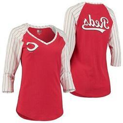 Cincinnati Reds New Era Women's Pinstripe Raglan 3/4-Sleeve