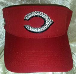 Cincinnati Reds Women's Visor Rhinestone Bling MLB  ~NEW~Fre