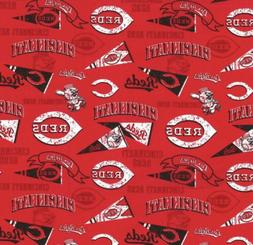 "DIY Cincinnati Reds  MLB Cotton - Logo - Fabric RP 9""x 21"