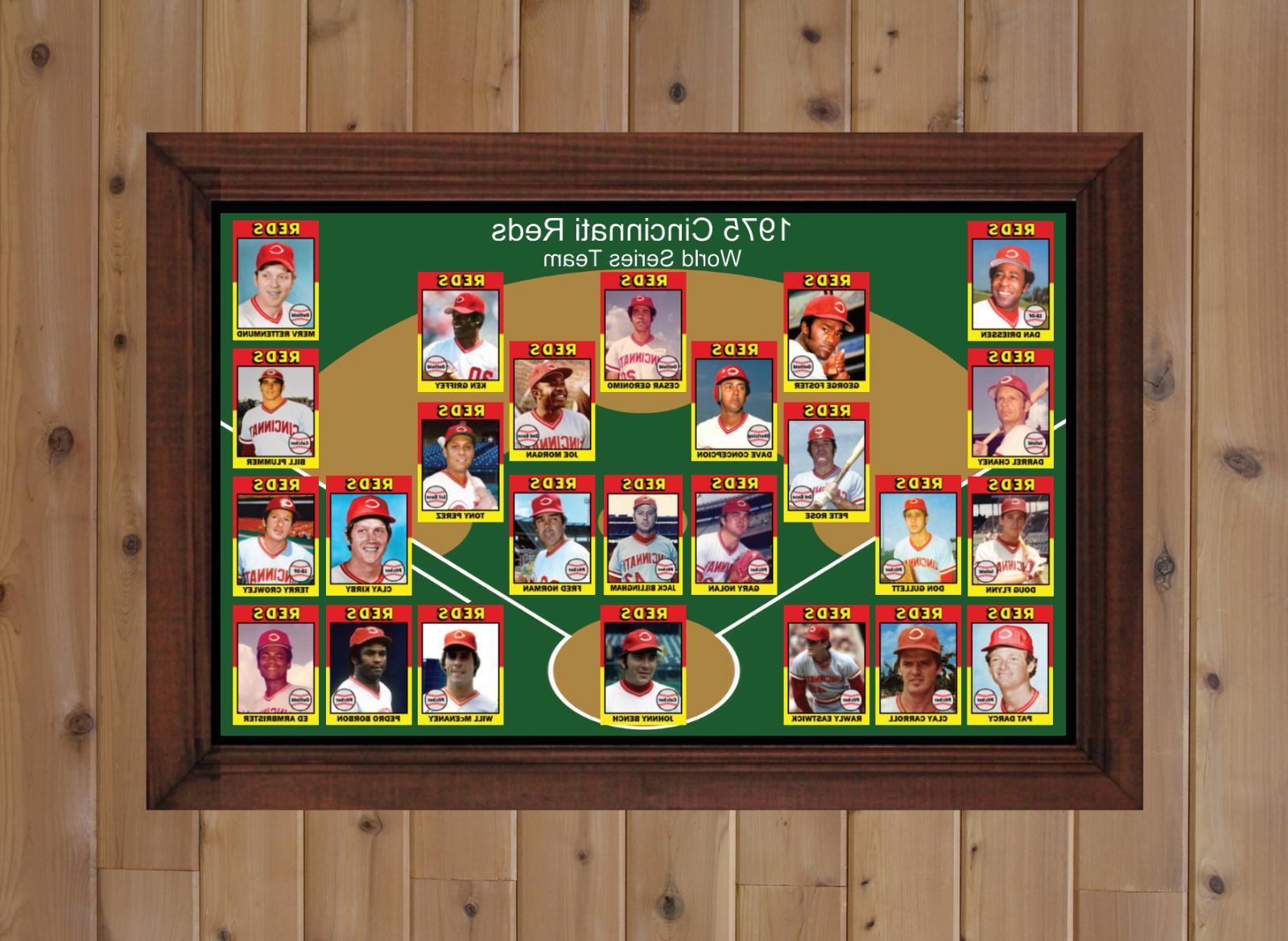 1975 REDS Baseball Card Art Man Cave Xmas