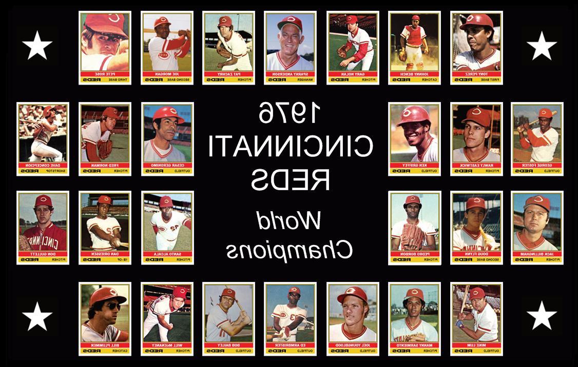 1976 cincinnati reds baseball card poster wall