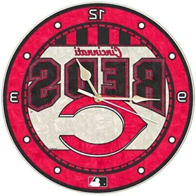 cincinnati reds art glass wall clock