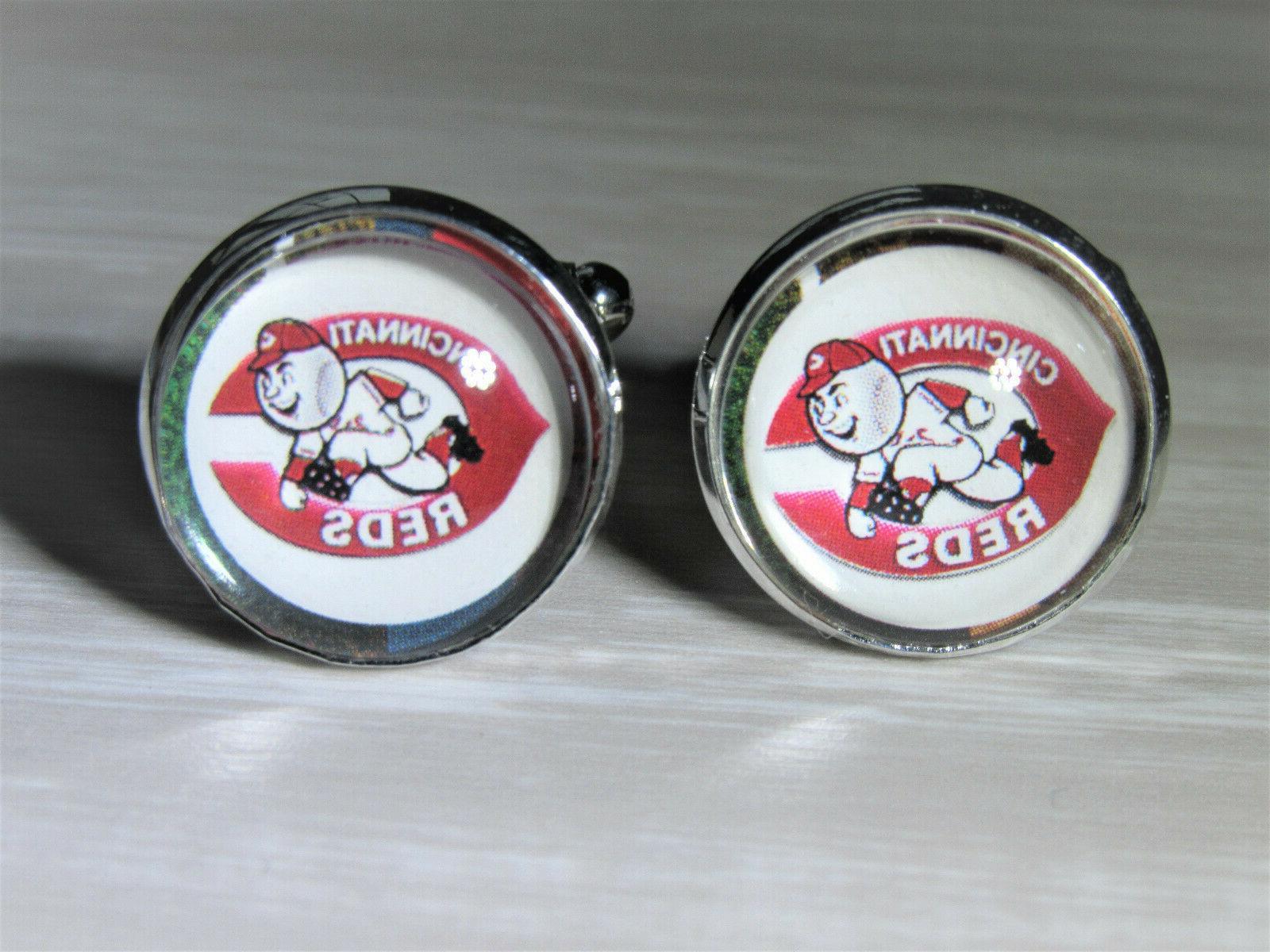 cincinnati reds cuff links made from baseball