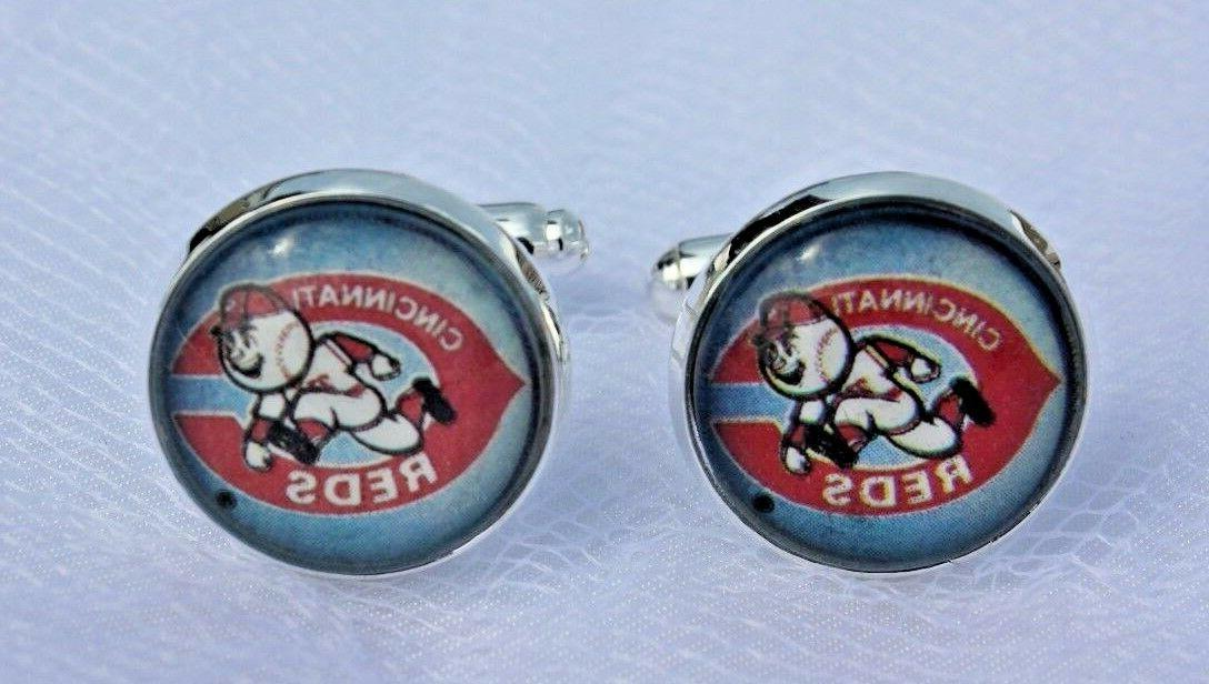 cincinnati reds cufflinks made from baseball trading