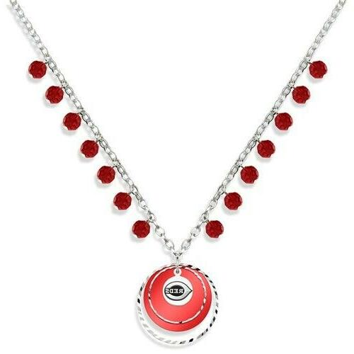 cincinnati reds game day baseball logo necklace