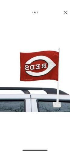 Cincinnati Reds MLB Car Flag W/Wall Brackett