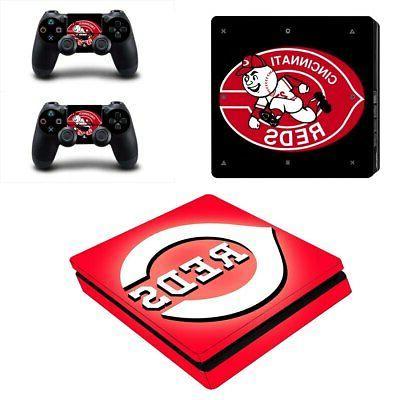 Cincinnati Reds PS4 Slim Skin Sticker Decal Vinyl Console+2