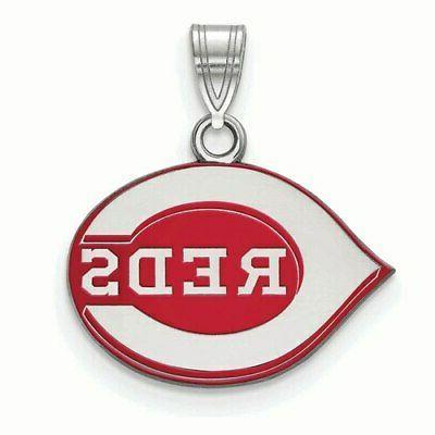 cincinnati reds women s silver enamel pendant