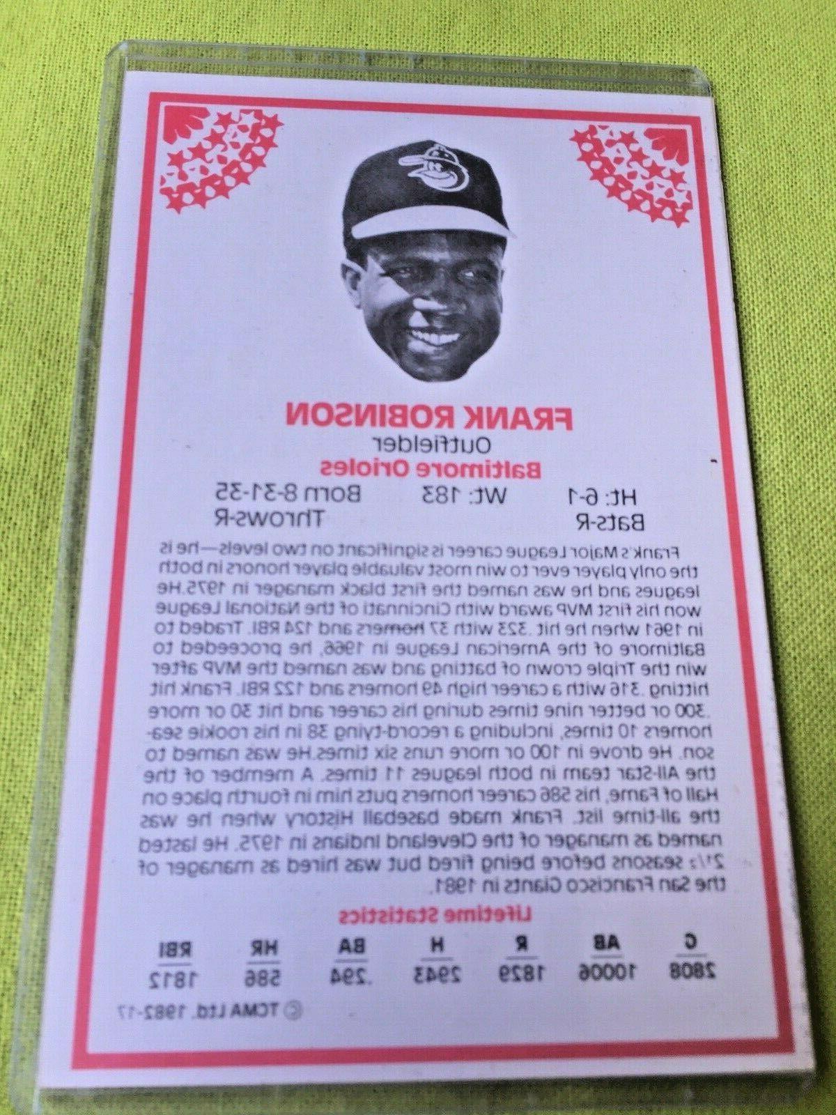 Large Frank Robinson Card TCMA 1982 Cincinnati Reds