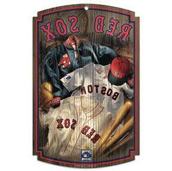 "MLB Boston Red Sox 70785091 Wood Sign, 11"" x 17"", Black"