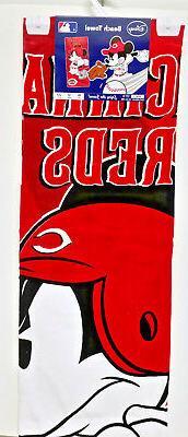 MLB Mickey Mouse Cincinnati Reds Batter Up Beach Towel