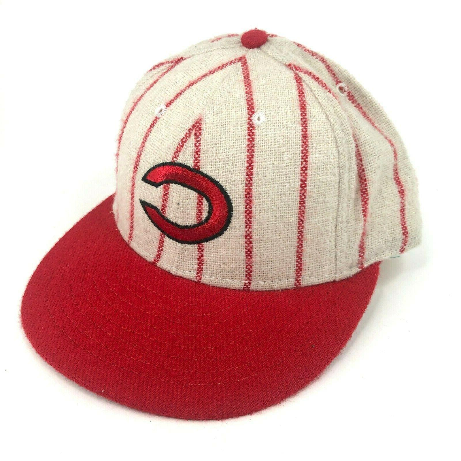 vintage cincinnati reds fitted hat cap wool