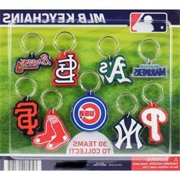MLB BASEBALL TEAM DECAL LOGO SOFT PVC KEYRING KEYCHAIN 30 TE