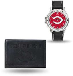 MLB Cincinnati Reds Black Faux Leather Watch & Wallet Set