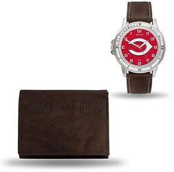 MLB Cincinnati Reds Brown Faux Leather Watch & Wallet Set