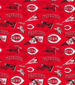 """MLB Cincinnati Reds Cotton FQ 1/4yd 18""""x22"""""""