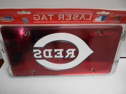 MLB Cincinnati Reds Laser Cut License Plate, Red