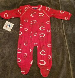 MLB Cincinnati Reds Zip Up Coverall Sleepwear Size 3-6 Month