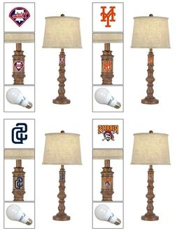 MOCHA BROWN WOOD TABLE/NIGHTSTAND LAMP WITH MLB TEAM LOGO DE