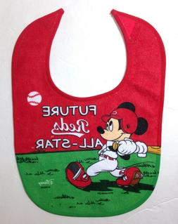 MICKEY MOUSE CINCINNATI REDS BABY BIB terry cloth disney MLB