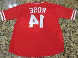 New! Pete Rose #14 Retro Cincinnati Reds Red Pull-Over Baseb