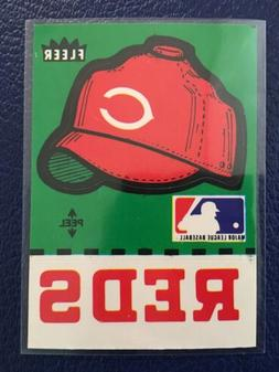 RARE 1982 Fleer CINCINNATI REDS Team Hat Sticker Card  MINT-