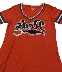 Women's Cincinnati Reds V-Neck T-Shirt Size L Red/White/Blac